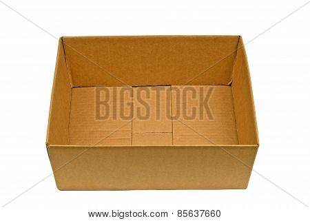 Empty Cardboard Box With Flaps Tucked Inside