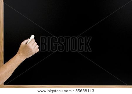 Hand Ready To Write On Chalkboard