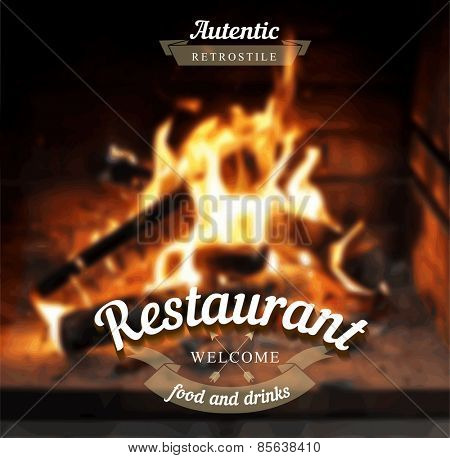 Fireplace vector editable blurred background. Typography label Lettering,