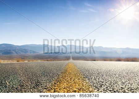 Straight Road Through Desert