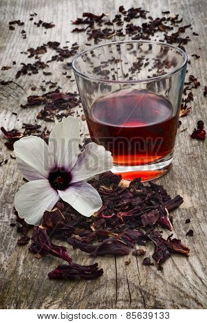 Hibiscus Tea (hibiscus Sabdariffa) Flower And Sepals Dried For Infusions