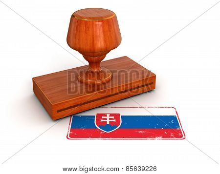 Rubber Stamp Slovak flag (clipping path included)