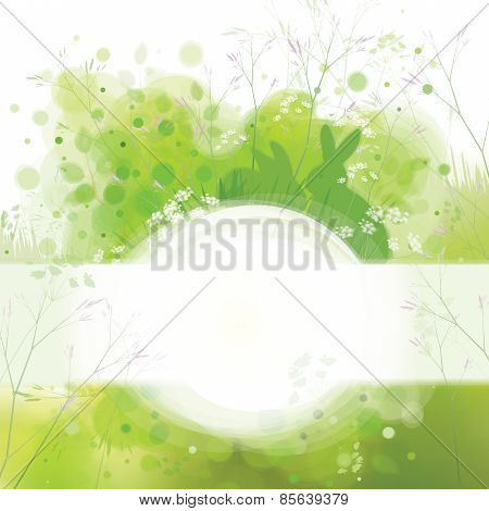 Vector Easter card rabbits on spring nature background.