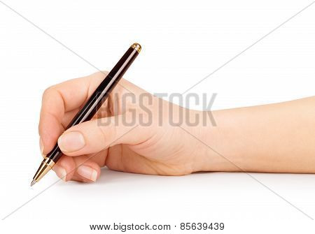 Female Hand Is Ready For Drawing With Black Pen. Isolated On White.