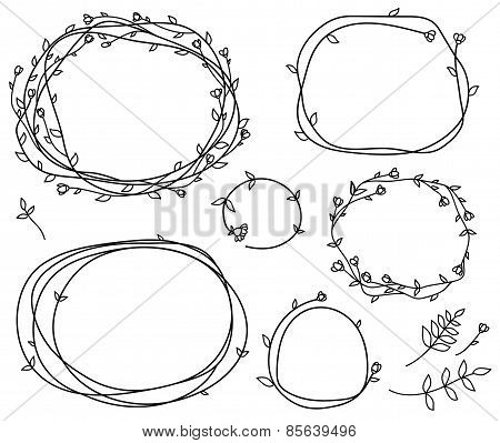 Vector floral frames silhouettes.