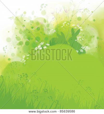 Vector rabbits in grass spring nature background.