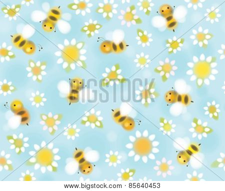 Vector seamless cute pattern chamomiles and bees soft blurred effect.