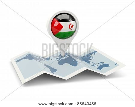 Round Pin With Flag Of Western Sahara