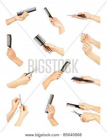 Hand With Professional Hairdressing And Manicure Equipment On White