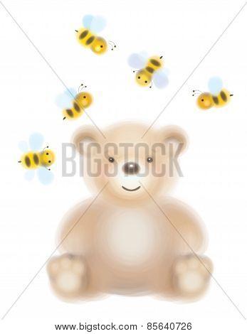 Vector baby bear and bees.