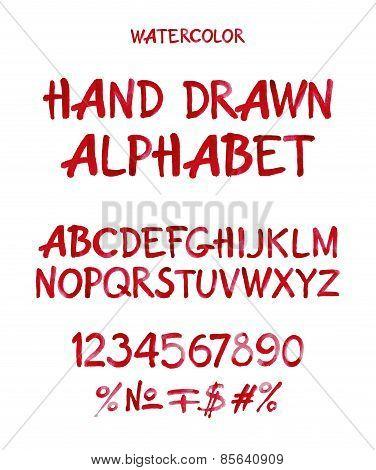 Watercolor hand written cherry alphabet. Vector watercolor.