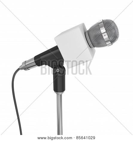 News Microphone With Blank Box, Isolated On A White Background.