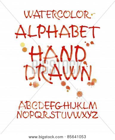 Watercolor hand written orange alphabet. Vector watercolor.