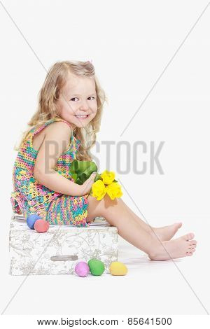 Smiling Two Years Old Girl In Eastertide