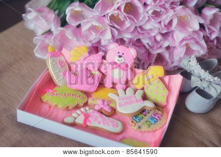 Colored Biscuits And Tulips
