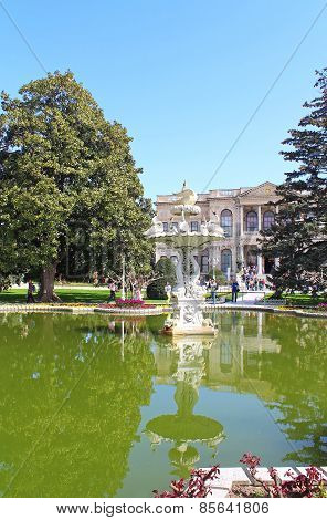 Fountain In The Park In Dolmabahce Palace, Istanbul, Turkey