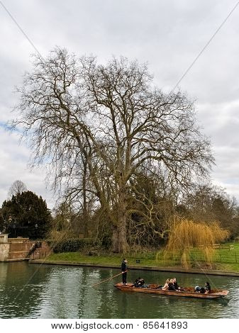 Punting On The River Cam During The Winter