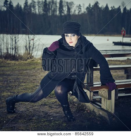 Fashionable Woman, Outdoor Posing In March