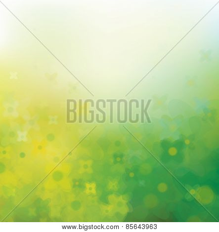 Vector Abstract Floral  Background, Green And Yellow.