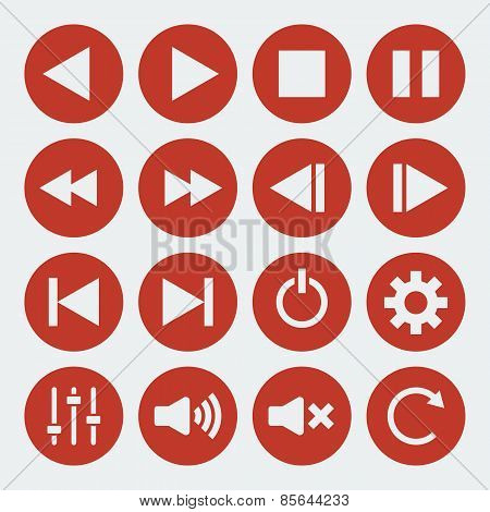 Vector music control icons.