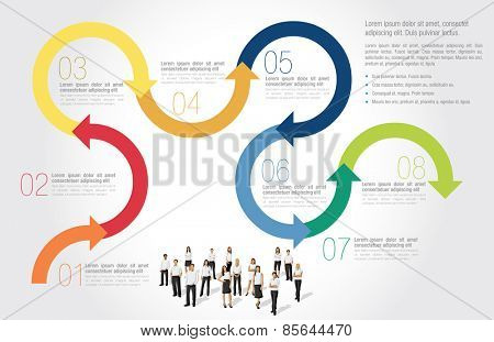 Template for advertising brochure with business people with arrows