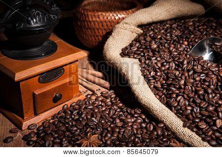 Coffee Still Life On A Wood