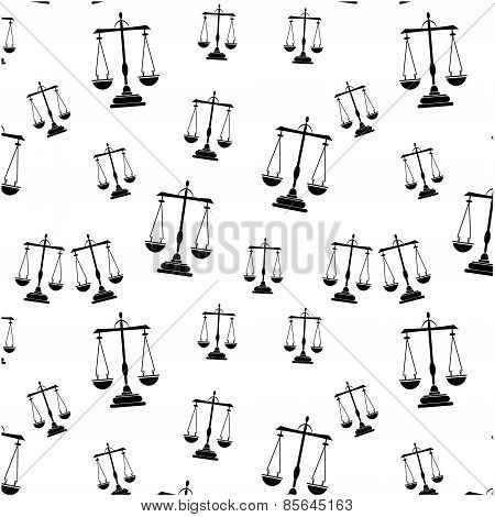 Simple seamless pattern with black icon of libra on white background