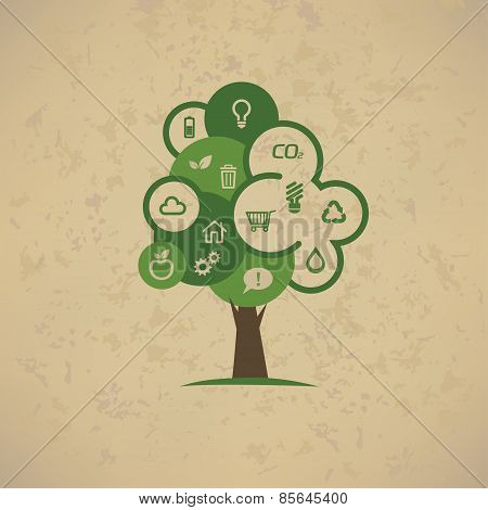 Eco Tree With Enviromental Icons Set