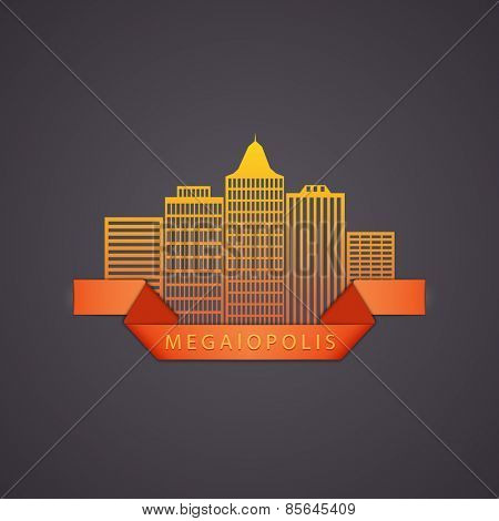 vector illustration of the symbolic image of a megacity
