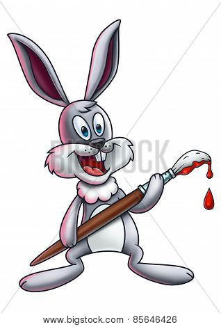 Easter Bunny with Paintbrush