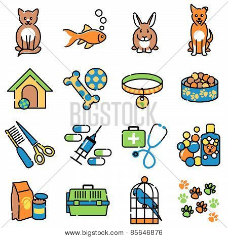 Pet animal care colour icons