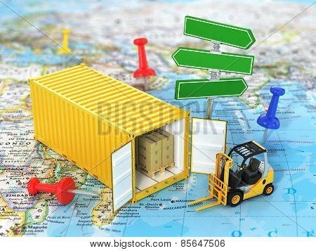 Open Container With Road Sign And Forklift Stacker Loader Holding Cardboard Boxes On The World Map.