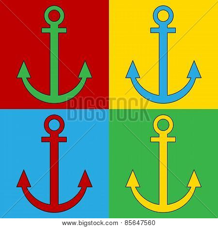 Pop Art Anchor Symbol Icons.