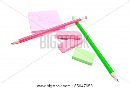 Sticky Note, Erasers And Pencils