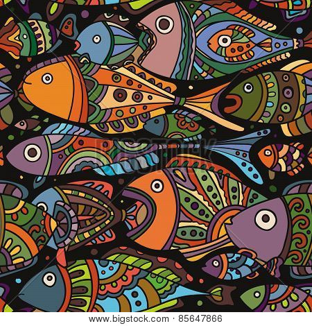 Vector seamless pattern with a lot of varicolored Fishes