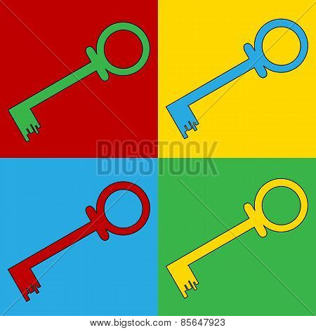 Pop Art Key Symbol Icons.