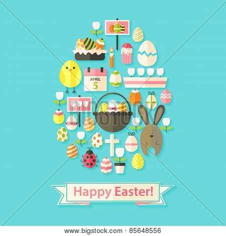 Easter Greeting Card With Flat Icons Egg Shaped