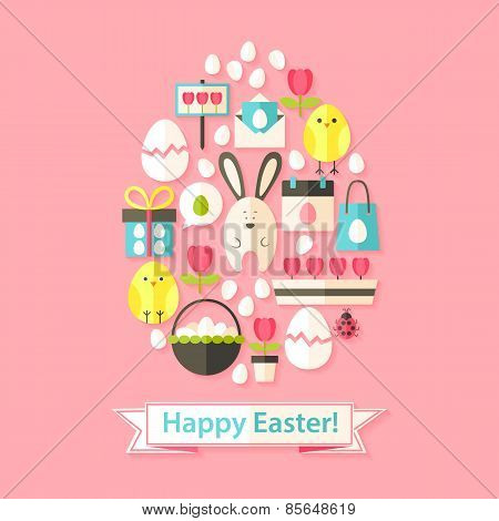 Easter Greeting Card With Flat Icons Set Egg Shaped