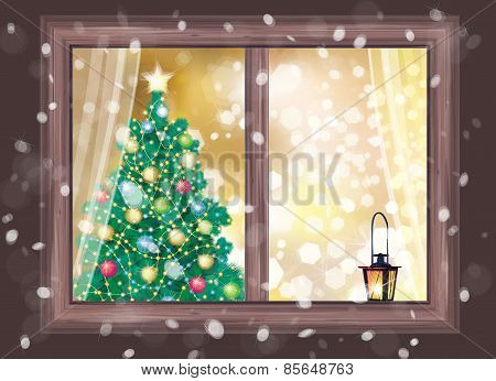 Vector night scene of house's window.
