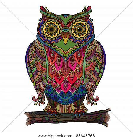 Vector illustration of beautiful decorative owl with a lot of details and colors.