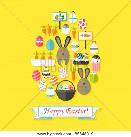 Easter Holiday Greeting Card With Flat Icons Set Egg Shaped