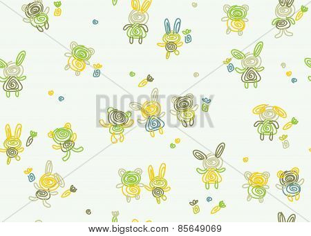 Vector cute seamless baby pattern.