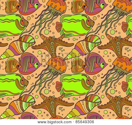 Vector seamless sea pattern with tropical fishes