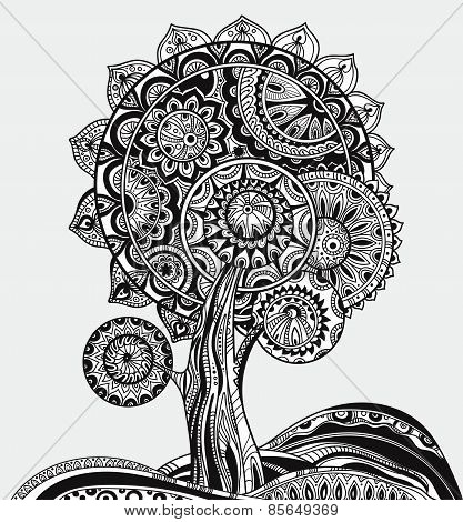 Abstract ornamental magic tree with a lot of details