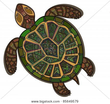 Decorative graphic turtle,  tribal totem animal