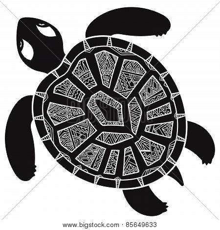 Decorative graphic turtle,  tribal totem animal