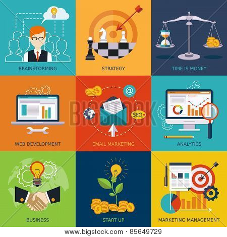 Vector flat business and finance concepts . Design elements for web, mobile