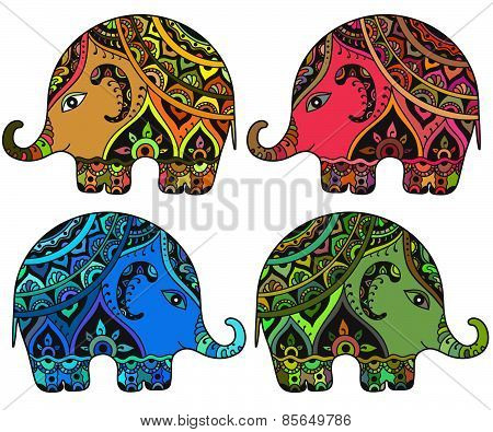 Stylized fantasy patterned elephants in Indian style.