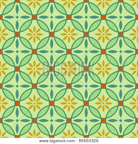 Abstract seamless green and yellow circles vector pattern.