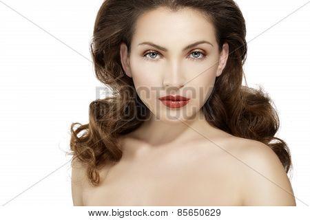 Beautiful Model Showing Healthy Brown Wavy Hair